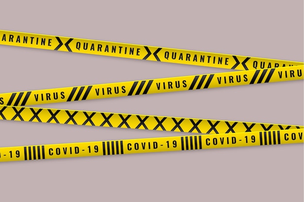 Cuarentena de advertencia con rayas amarillas y negras