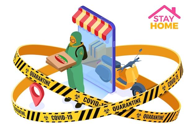 Cuarentena de coronavirus quedarse en casa. servicio seguro de pedido de alimentos y entrega de paquetes en línea cinta de barrera de advertencia mensajero pandémico con ropa protectora mono y máscaras de gas con pizza