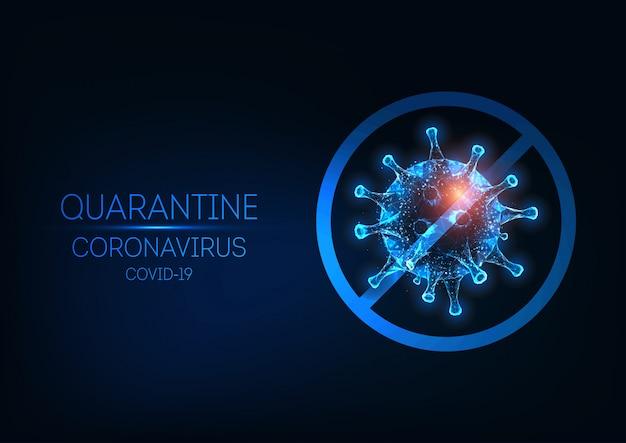 Cuarentena futurista de coronavirus con células de virus y señal de stop