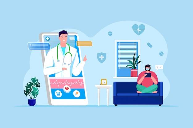 Cuarentena del virus de corona quedarse en casa, ilustración. mujer con máscara protectora sentarse en el sofá, escuchar consejos médicos en línea