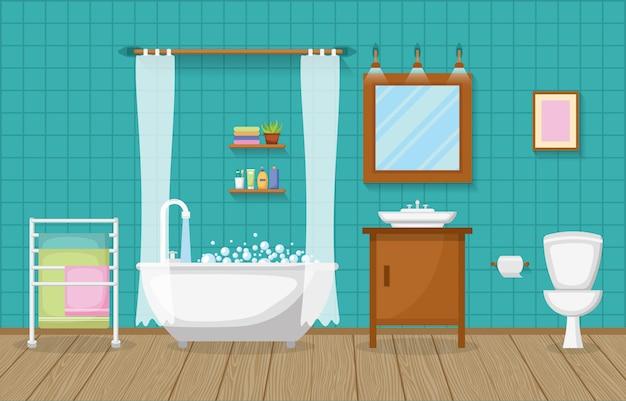 Cuarto de baño clásico interior habitación limpia muebles de acento de madera diseño plano