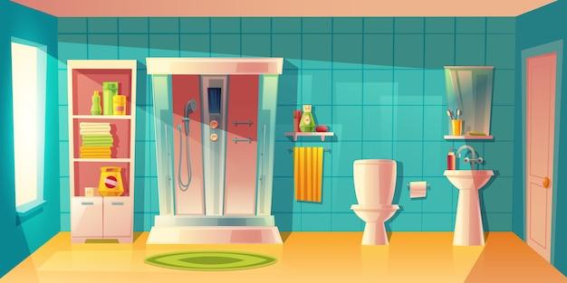 Cuarto de baño interior con cabina de ducha automática, lavabo.