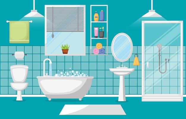 Cuarto de baño interior limpio moderno muebles de habitación diseño plano