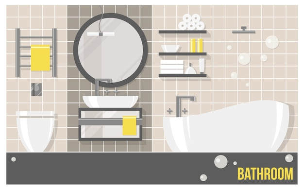Cuarto de baño moderno interior con azulejos beige en estilo plano.
