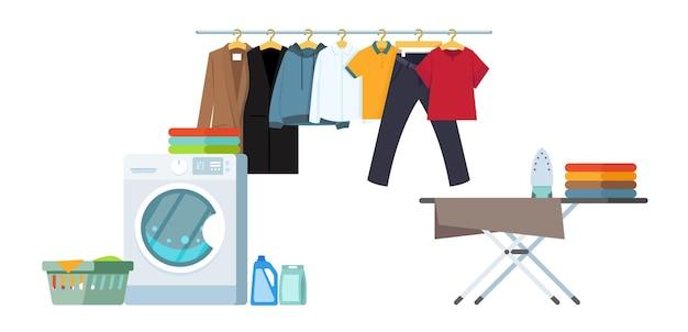 Cuarto de lavado con instalaciones para lavar. ilustración de estilo plano.