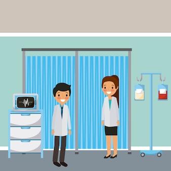 El cuarto médico de los médicos se coloca el bolso de sangre y la máquina de supervisión