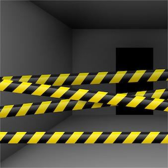 Cuarto oscuro con cinta amarilla y negra de peligro. crimen o escena de emergencia