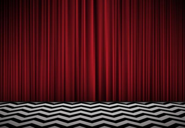 Cuarto rojo. fondo horizontal con cortinas de terciopelo rojo y piso blanco y negro.