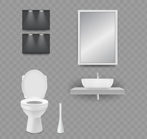 Cuarto de wc. inodoro, lavabo y espejo realistas aislados sobre fondo transparente.
