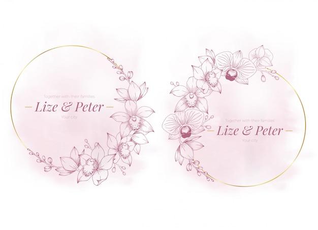Cuarzo rosa elegante marco floral dorado fondo acuarela