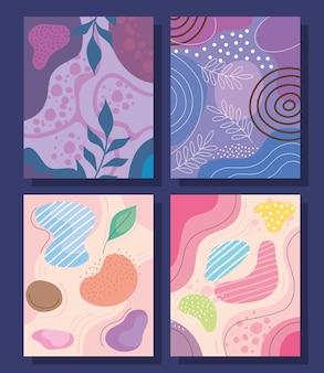 Cuatro abstracs orgánicos formas fondos, diseño de ilustraciones vectoriales