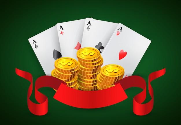Cuatro ases, pilas de monedas de oro y cinta roja. publicidad de negocios de casino