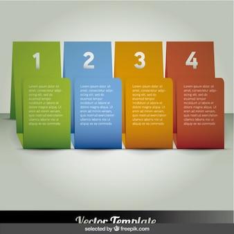 Cuatro banderas coloridas infografía