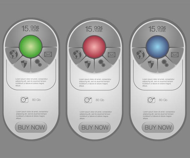 Cuatro banner para las tarifas y listas de precios. elementos web plan de alojamiento. para la aplicación web plan de sitio web en piso.