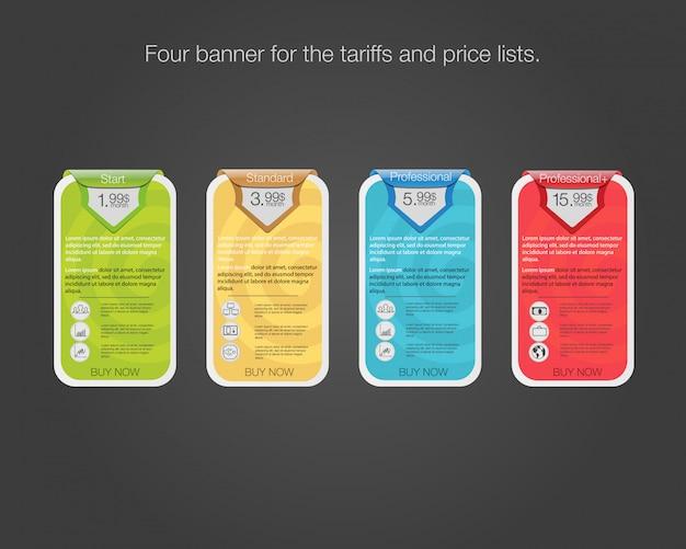 Cuatro banner para las tarifas y listas de precios. elementos web plan de alojamiento. elemento web