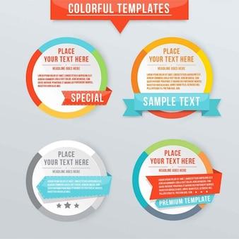 Cuatro banners circulares con plantillas de texto para infografías
