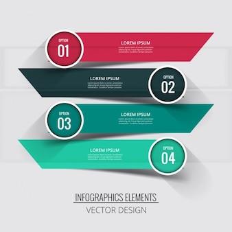 Cuatro banners con etiquetas circulares para infografías