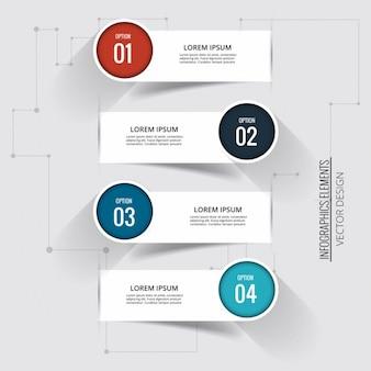 Cuatro banners con etiquetas circulares para opciones