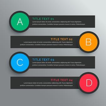 Cuatro banners infográficos con círculos de colores