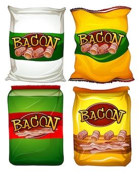 Cuatro bolsas de ilustración de tocino