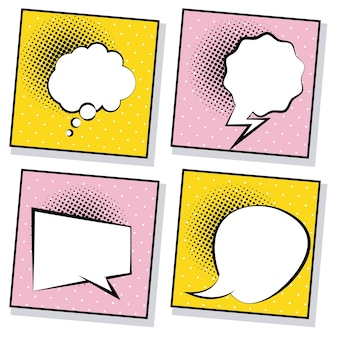 Cuatro burbujas de discurso retro dibujadas estilo pop art en ilustración de fondos rosa y amarillo
