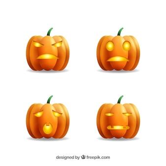 Cuatro calabazas realistas de halloween