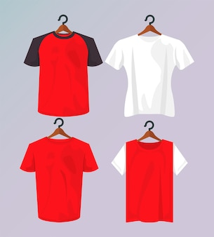 Cuatro camisetas de maqueta en pinzas para la ropa colgadas.