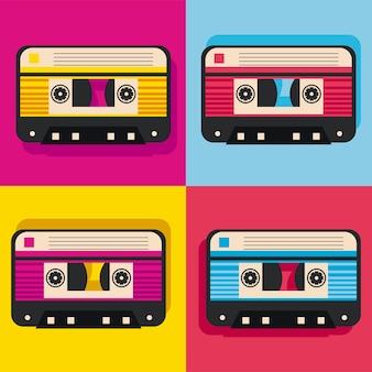 Cuatro casetes de arte pop retro