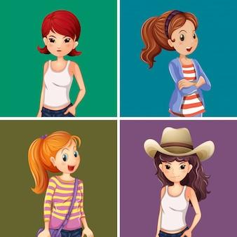 Cuatro chicas sobre fondo de color