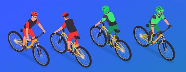 Cuatro ciclistas de montaña isométricos