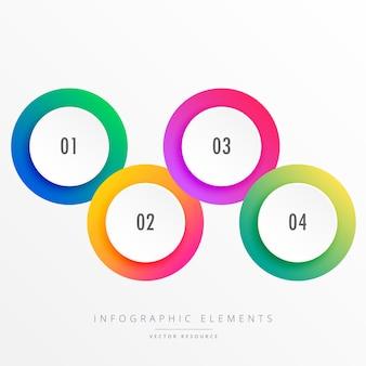 Cuatro círculos infográficos con diferentes colores