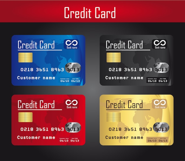 Cuatro coloridas tarjetas de crédito sobre vector de fondo gris