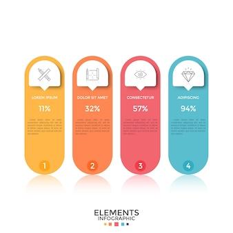 Cuatro coloridos elementos redondeados separados con iconos de líneas finas, lugar para texto, números e indicación de porcentaje en el interior. concepto de 4 opciones para comparar. disposición de diseño infográfico. ilustración vectorial.