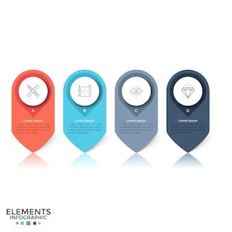 Cuatro coloridos elementos redondeados separados con símbolos lineales, letras y lugar para el texto en el interior. concepto de 4 pines o marcas. plantilla de diseño de infografía creativa. ilustración de vector de folleto.