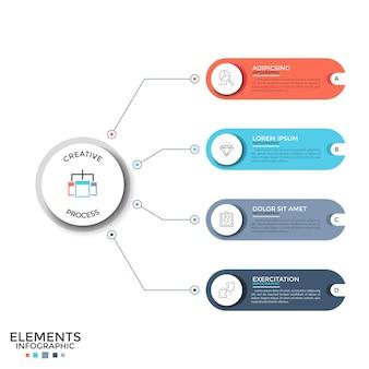 Cuatro coloridos elementos redondeados con signos lineales y lugar para el texto en el interior conectados por líneas al círculo blanco de papel. concepto de 4 características del proyecto. disposición de diseño infográfico. ilustración vectorial.