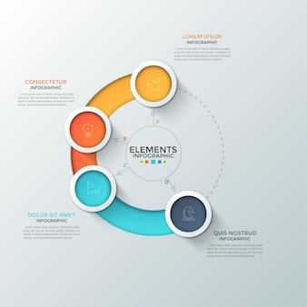 Cuatro coloridos elementos redondos con símbolos lineales en el interior colocados en círculos y cuadros de texto. concepto de control deslizante circular para interfaz web. plantilla de diseño infográfico. para el sitio web.