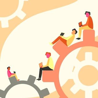 Cuatro compañeros de equipo dibujando sentados en engranajes usando una computadora portátil que muestra el progreso del equipo, el diseño de colegas se sienta