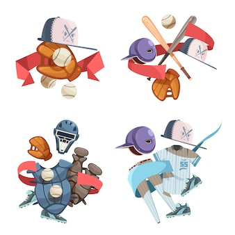 Cuatro composiciones decorativas de los iconos del inventario del béisbol en estilo retro con el uniforme de los guantes de las bolas del casco del palo