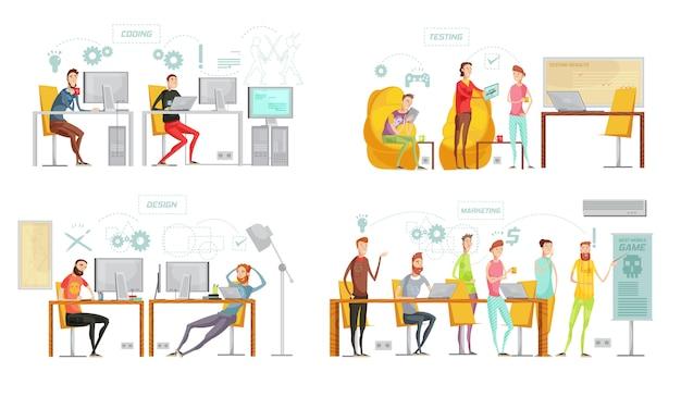 Cuatro composiciones de desarrollo de juegos de colores aislados con diseño de pruebas de codificación y descripciones de marketing vector ilustración