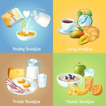 Cuatro composiciones de desayuno con descripciones saludables de proteínas energéticas y vitaminas.