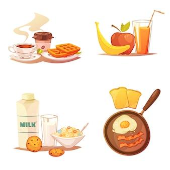 Cuatro composiciones de iconos de colores sobre fondo blanco