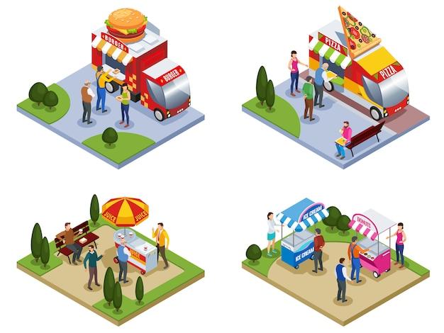 Cuatro composiciones isométricas al aire libre con personas cerca de camiones de comida callejera que entregan hamburguesas de pizza, helado, ilustración vectorial aislado