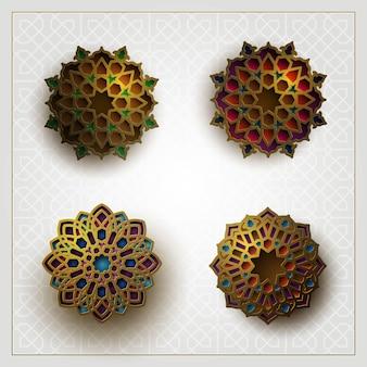 Cuatro conjuntos de diseño de patrón floral islámico