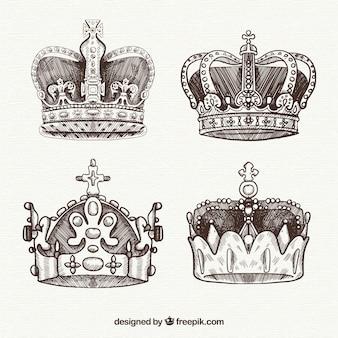 Cuatro coronas de la realeza dibujadas a mano