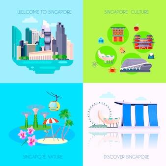 Cuatro cuadrados plana conjunto de iconos de la cultura de singapur