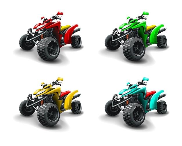 Cuatro cuatrimotos en diferentes colores.