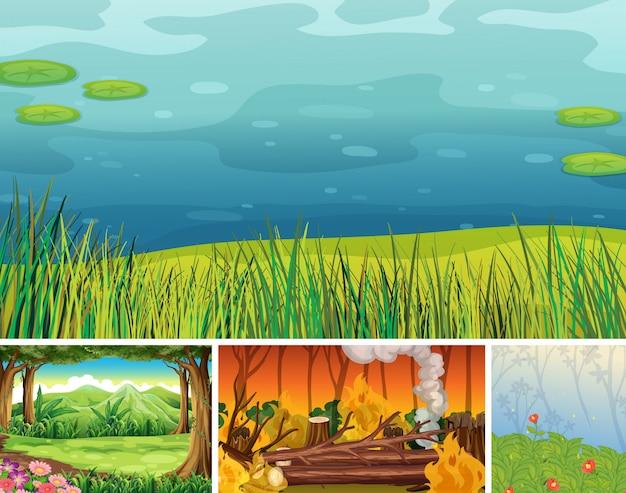 Cuatro diferentes escenas de desastres naturales del estilo de dibujos animados del bosque