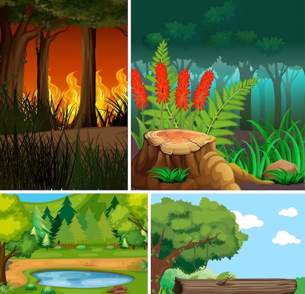 Cuatro diferentes escenas de la naturaleza del estilo de dibujos animados del bosque y los desastres naturales