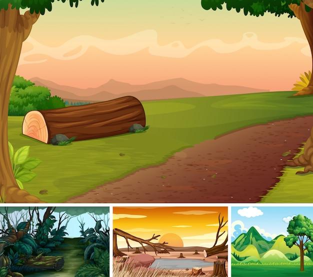 Cuatro diferentes escenas de la naturaleza del estilo de dibujos animados del bosque