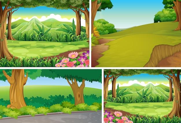 Cuatro diferentes escenas de la naturaleza del estilo de dibujos animados del bosque.